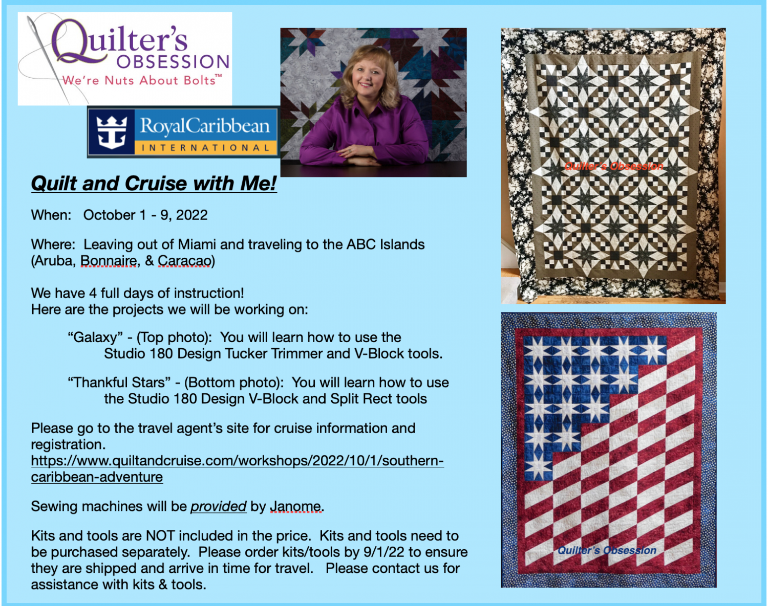 Join me on a quilt cruise!! Oct 1-9,2022