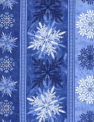 Winter Wonderland - Floral Stripe - Blue